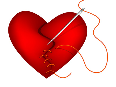 Clip-art of broken heart being mended by thread